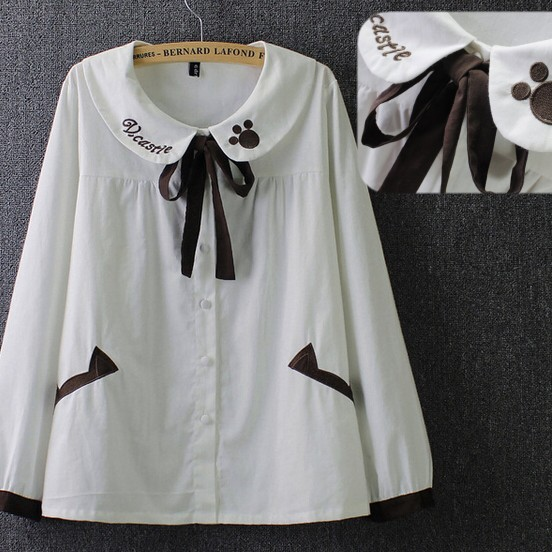 Buy peter pan collar bow sash cotton for White cotton shirt peter pan collar