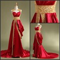 Real Picture Dubai Arabic Kaftan Long Elegant Prom Dresses to Party Red Gold Beaded Plus Size