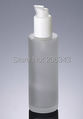 100ml frosted glass bottle with white snake head shape press pump , Cosmetic Packaging,glass bottle(China (Mainland))