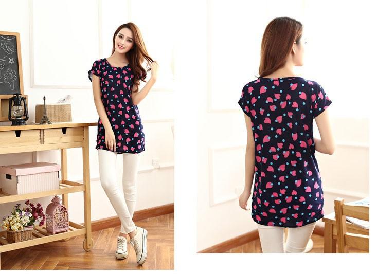 Летний стиль дешевые Женская рубашка 13 проектирует короткие o шеи женщин цветочные принты блузки рубашки моды 2015 camisetas mujer