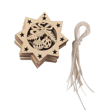 10pcs Wooden Embellishments with String Christmas Decoration Octagon Bells(China (Mainland))
