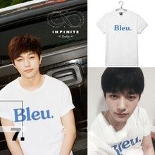 Infinite kpop official BLEU short cotton short-sleeved shirt k-pop infinite summer Tops T shirt sleeve shirt clothes Tshirt