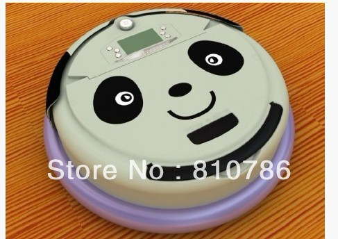 Lovely Panda Face 4 In 1 Multifunctional Vacuum Robot Cleaner ,LCD Screen,Schedule Work,Virtual Wall,Self Charge(China (Mainland))