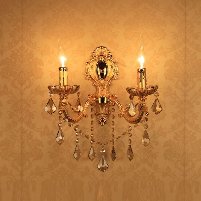 2016 Europe Alloy Double Sides Golden Crystal Wall Lights Up Sconce lamp As Bedroom Bedside Lights 220v Using E14 Bulbs Ce Rohs(China (Mainland))