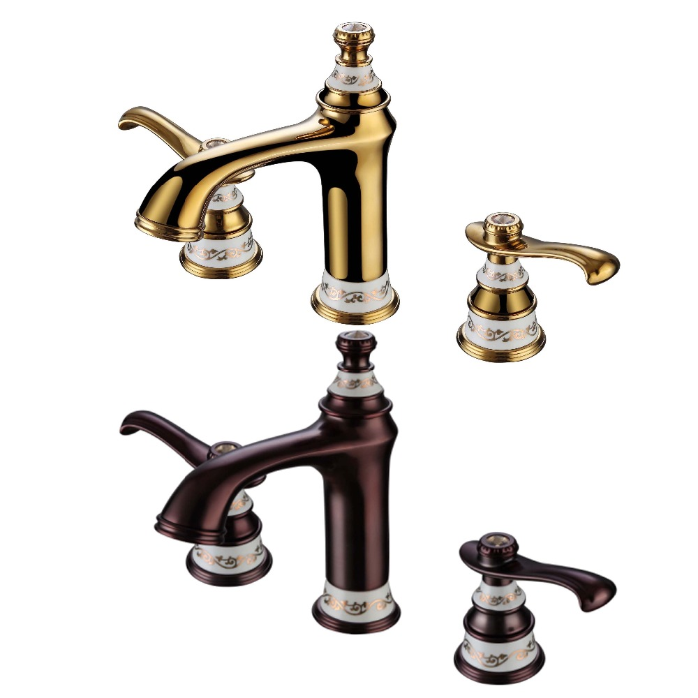Bathroom sink faucet one hole double handle basin mixer tap ebay - Http Www Aliexpress Com Item Ems Dhl Free Shipping Pvd Gold Widespread Lavatory Bathroom Sink Faucet