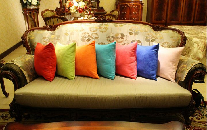 Aliexpress.com : Buy Solid color Sofa throw pillows purple green cushion covers suede pillow ...