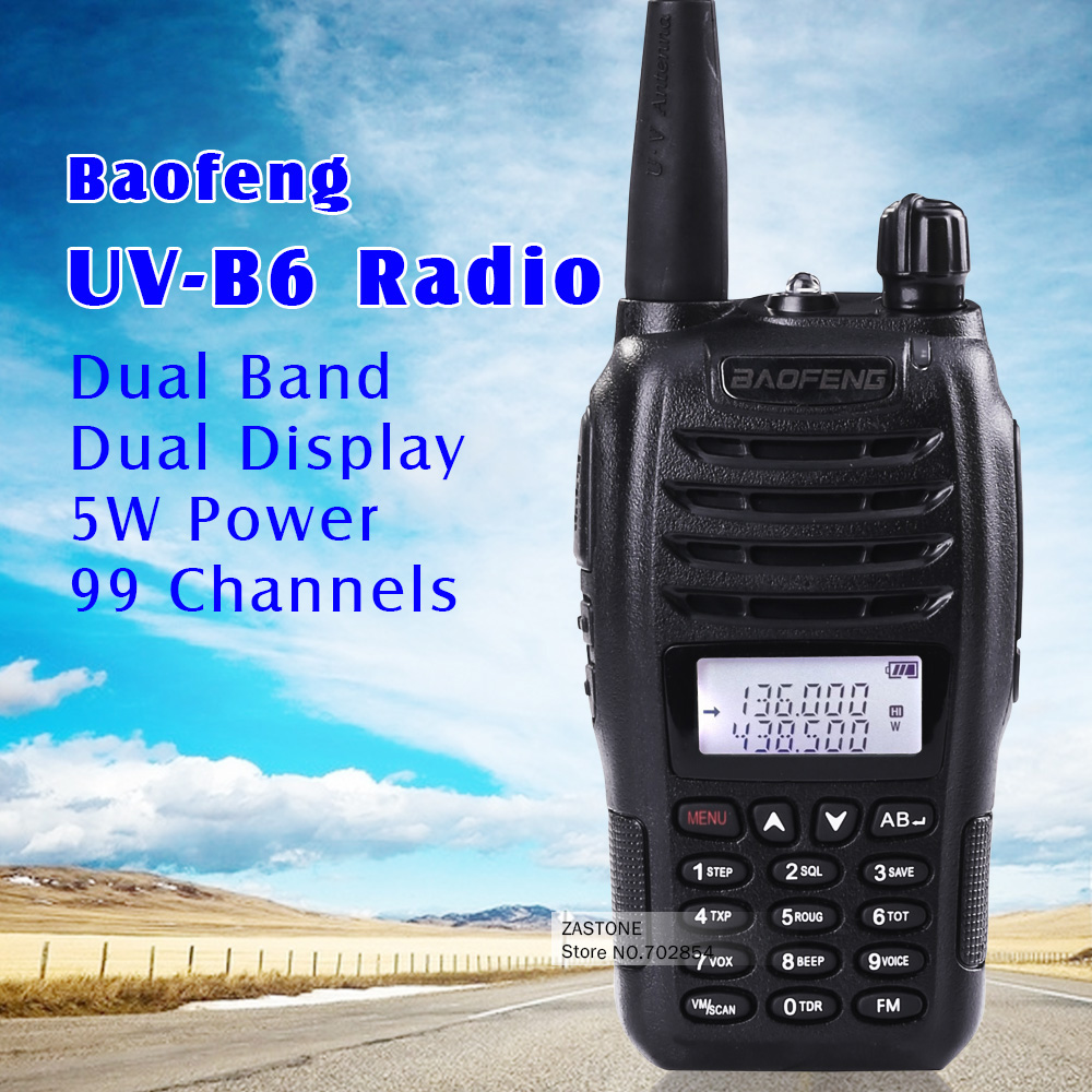 Black BaoFeng protable radio UV-B6 Dual Band UHF VHF Two Way Radio 136-174MHz&400-470 MHz walkie talkie free shipping(China (Mainland))