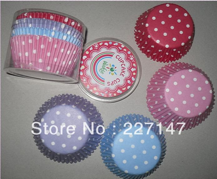 10retail box mix color PolkaDot Mini cupcake Baking Liners Wedding Parties cake cup - Favor Supply store