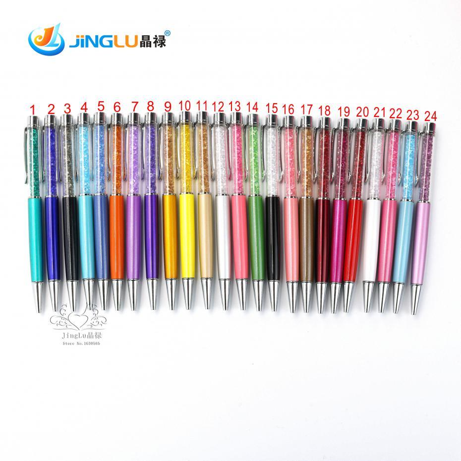 24 colors new design diamond ballpoint pen crystal pens stationery ballpen office school