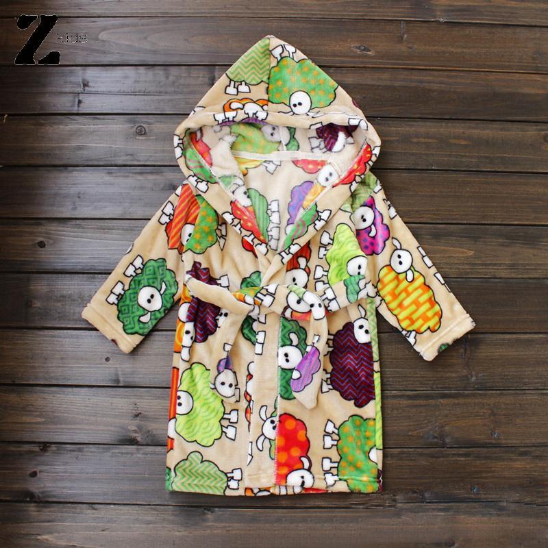 Kiqoo 2017 New Fashion Kids Bathrobes Boys/Girls Fleece Pajamas Cartoon Hooded Soft Warm Sleepwear Spring Autumn Robe