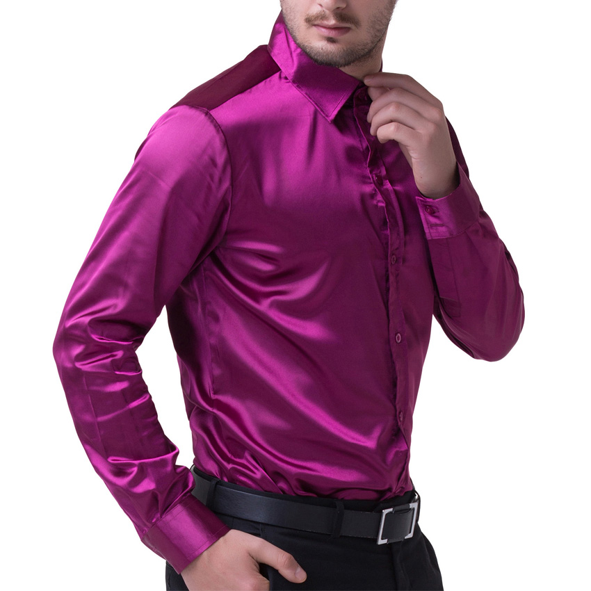 Luxury silk like satin long sleeve men dress shirt black for Wine colored mens dress shirts
