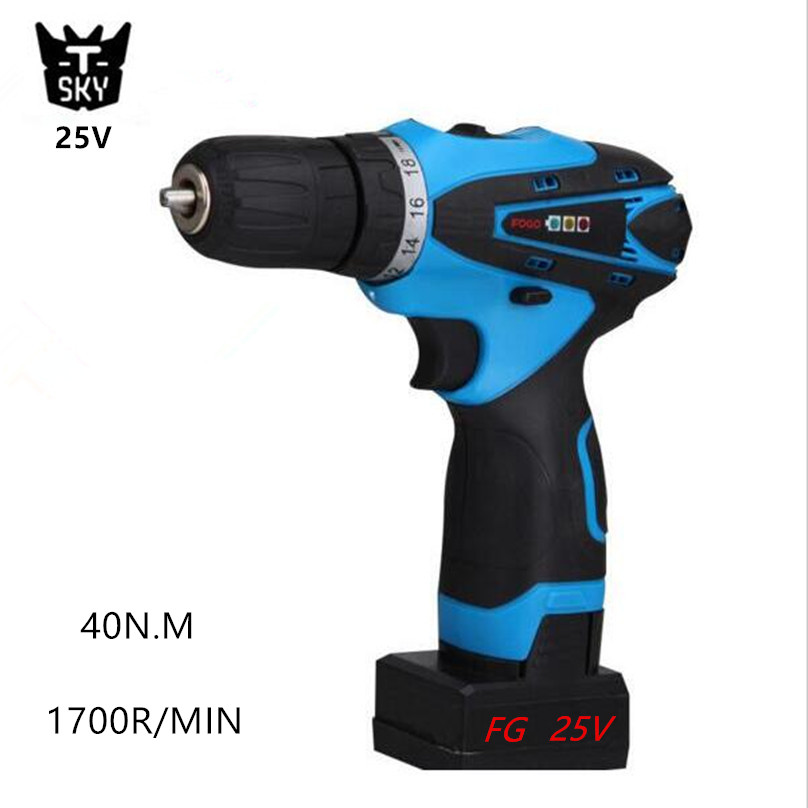 25V Rechargeable Lithium Battery Cordless drill hand electric drill bit Socket wrench household electric screwdriver power tool(China (Mainland))