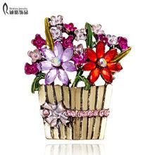 Ungu Bunga Keranjang Kristal Antik Carnation Bunga Bros untuk Wanita Bridesmaid Bouquet Bros Pin Hari Ibu Perhiasan(China)