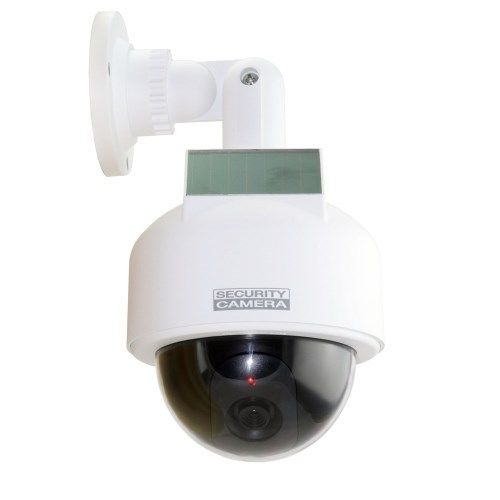 White Dummy Solar Powered Dome CCTV Camera Waterproof with Flashing LED Lights<br><br>Aliexpress