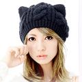 Knitting Wool Cat Ear Design Beanie Ski Hat Fashion Lady Girls Winter Warm Cap Caps Twist