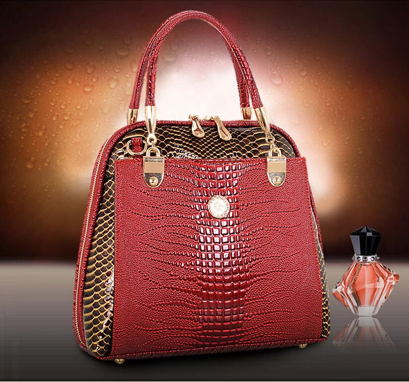 2015 Newest Women Handbag Bag Classic Cowhide Genuine Leather Crocodile Scales Vintage Female bag Tote Bags - HK LINFAY GLOBLE TRADING CO.,LTD store