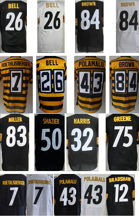100% Stitiched Pittsburgh #7 Ben Roethlisberger jersey authentic #43 Troy Polamalu jersey Steelers elite #26 LeVeon Bell jersey(China (Mainland))