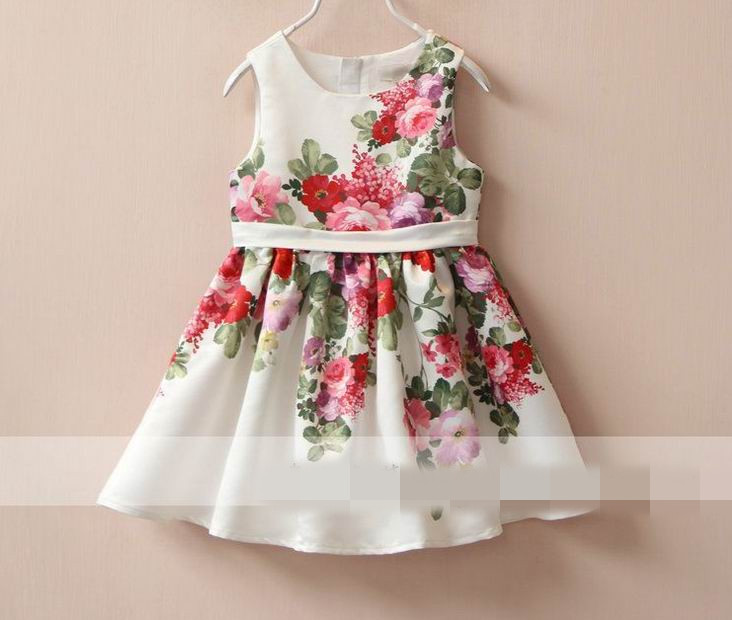 2016 Girl Summer Dress Sweet Peony Flower Sleeveless Sundress Children Clothing 2-8T 309861<br><br>Aliexpress
