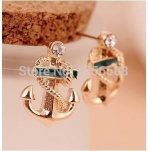 New Arrival fashion beautiful navy anchor earrings feng shui hand wholesale jewelry Free Shipping<br><br>Aliexpress
