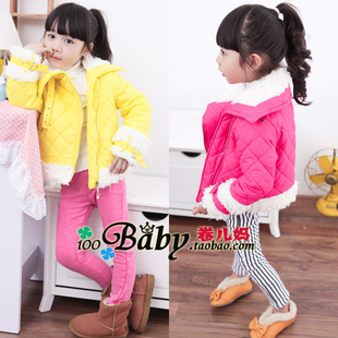 Free shipping winter girls locomotive fan candy the lambs wool girl cotton-padded clothes childrens coat outwear<br><br>Aliexpress