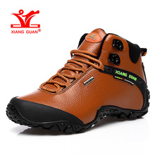 XIANGGUAN Woman Hiking Shoes Women High Leather Trekking Boots Brown Waterproof Sports Climbing Shoe Outdoor Walking Sneakers