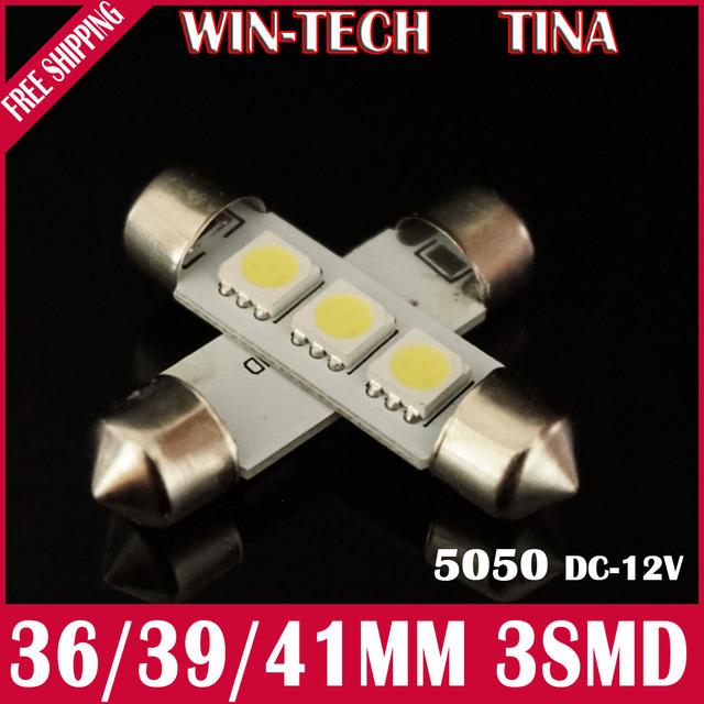 Free Shipping 10pcs/lot 41mm 3 SMD 5050 LED door led SMD C5W Festoon Dome Light 12V White LED Reading Light Lamp Working Light