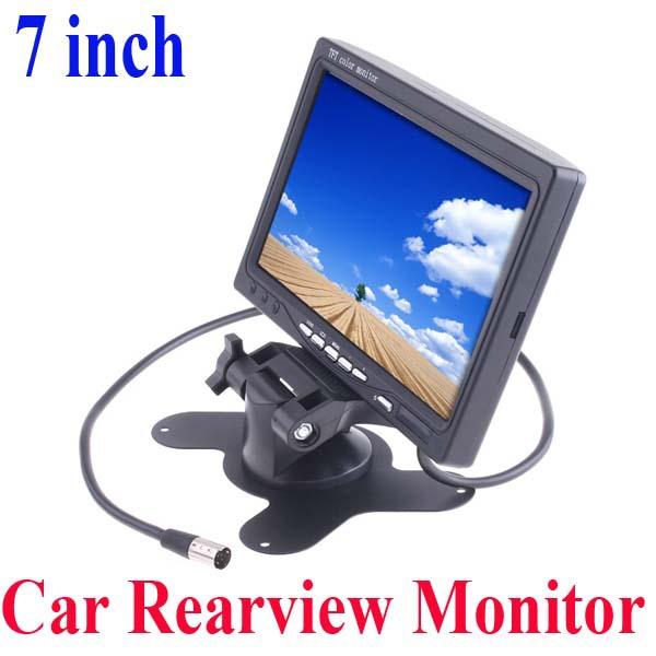 "Universal 7"" inch HD TFT Car Monitor LCD Camera Color 2 AV input Car Rearview Mirror Reverse Backup Parking VCR DVD Player(China (Mainland))"
