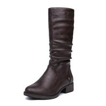 AIMEIGAO Neue Herbst Winter Mid-kalb Frauen Stiefel Wohnungen Heels Warme Plüsch PU Leder Stiefel Hohe Qualität Kniehohe stiefel(China)
