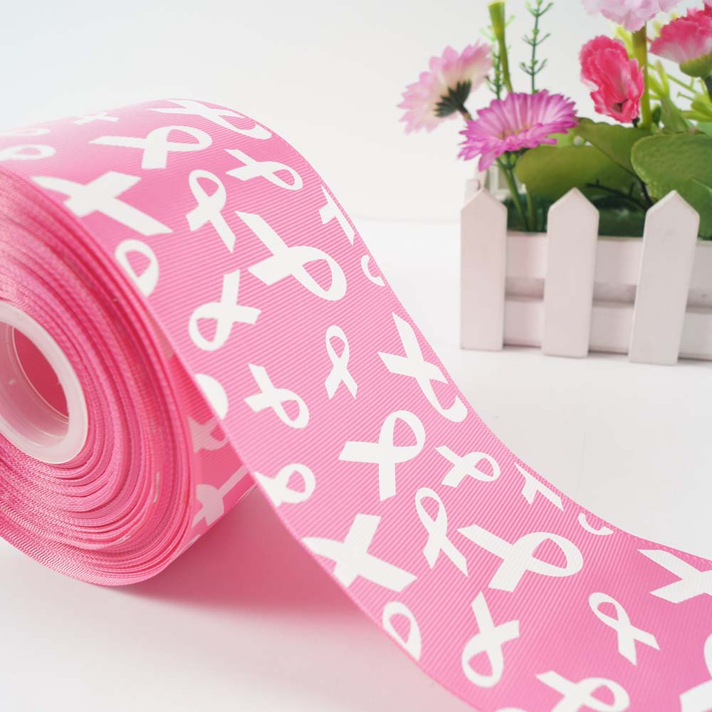 10ylot 375mm breast cancer awareness aids printed grosgrain ribbon diy hairbow party decoration - Breast Cancer Decorations