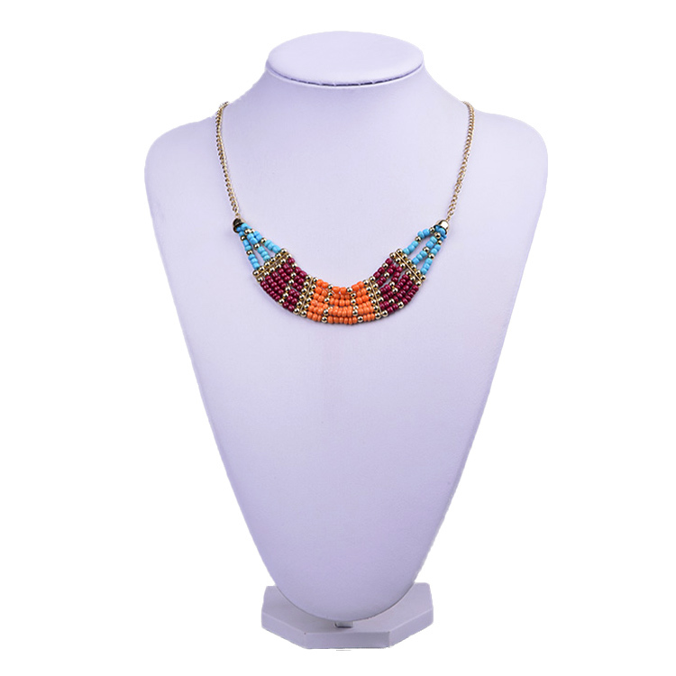 Vintage Style Necklace for Women! Multi Color seed & Golden iron chain Free Shipping(XL0527)(China (Mainland))