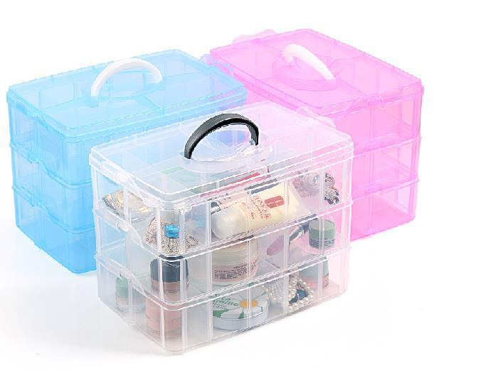 New Transparent plastic  Jewelry Makeup DIY Home Organizer Boxes Protable Travel Cosmetic Storage Case #AF0073(China (Mainland))