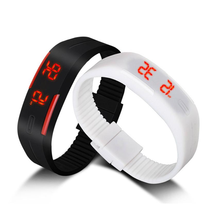 2015 Fashion Sport LED Watch Women Men Candy Color Silicone Rubber Touch Screen Digital Watches Waterproof Wrist Watch Bracelet