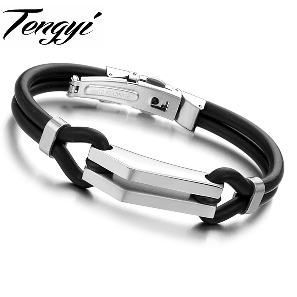 Punk Handmade Genuine Silicone Double Layer Bracelets Delicate Gift for Cool Men Braided Wristband Best Factory Price TY522(China (Mainland))