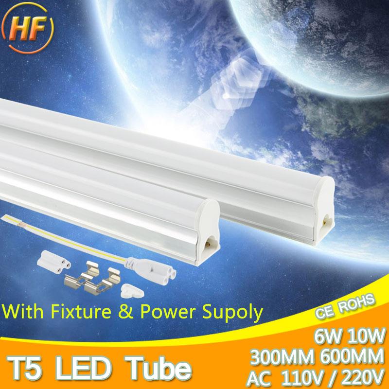 PVC/Aluminum LED Tube T5 Light 220v 240v 6w 10w LED Fluorescent Tube Lamp T5 Warm Cold White Plastic T5 Light 30cm 60cm lampada(China (Mainland))