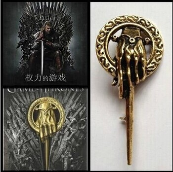 Factory Outlet Good Quality New Fashion Song Of Ice And Fire Game Of Thrones Hand Of The King Scepter Badge Brooch(China (Mainland))