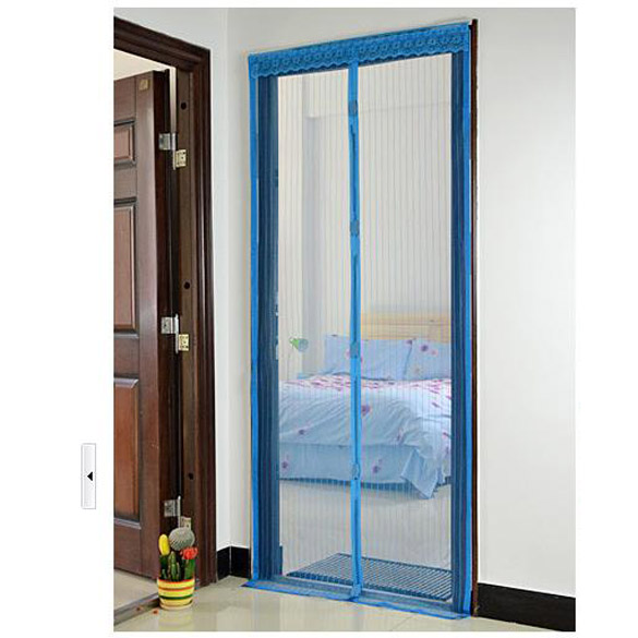 Sky blue magnetic mesh anti mosquito bug door curtain for Screen new window