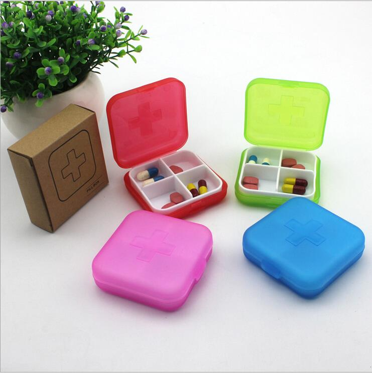 4 Slots Cross Portable Medical Mini Pill Box Cases Medicine Drug Storage Box Jewelry Beads Organizer 4 Colors OR875503(China (Mainland))