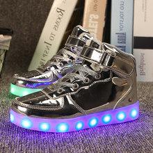 גודל 25-37 ילדים Led Usb טעינת זוהר סניקרס ילדי וו לולאה אופנה זוהר נעלי בנות בני סניקרס עם אור(China)