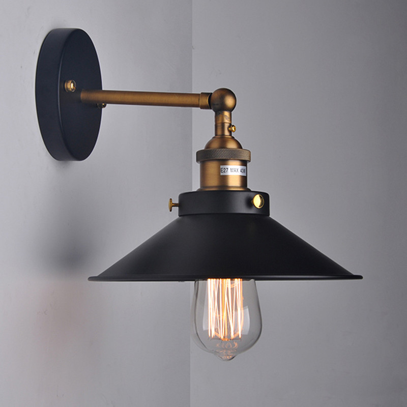 American Retro Loft Vintage Industrial 1 Light Wall Light Sconce black umbrella Bedside wall ...