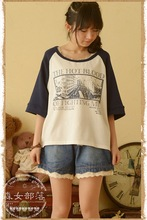 2015 new mori girl fashion and trend Japanese style Vintage small fresh short-sleeve