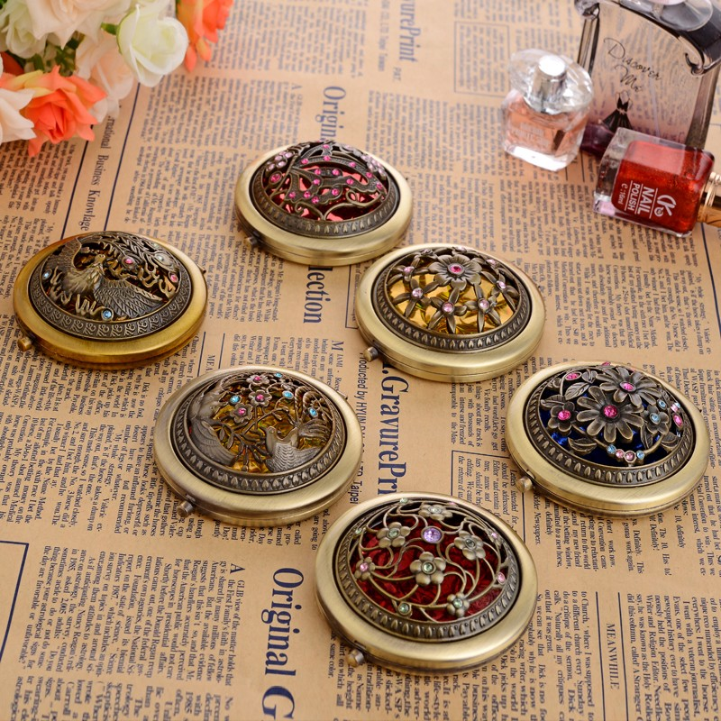 1pc vintage copper carving stainless steel pocket mirror for Application miroir pc