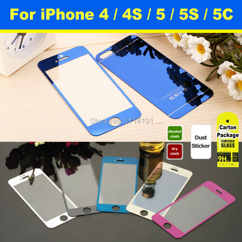 Front + Back Premium Colorful Mirror Effect Tempered Glass Film Guard Protective for iPhone 4 4S 5 5S Full Screen Protector(China (Mainland))