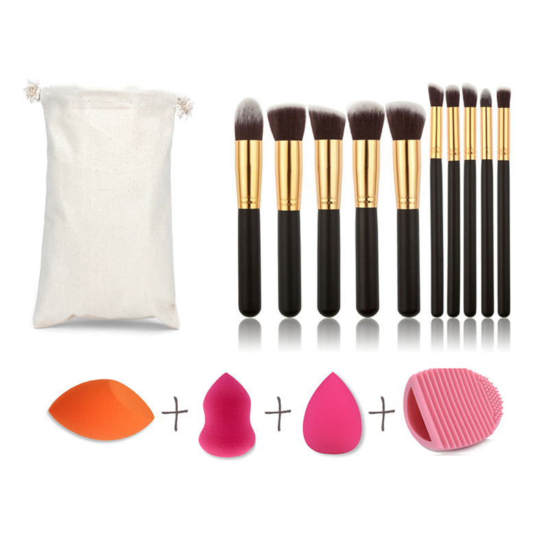 Makeup Tool Kit 10pcs Eye Shadow Foundation Brush/Powder Puff/Brush Egg Cleaner Tool Set