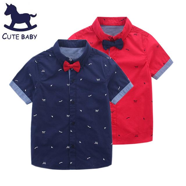Новый 2016 мальчики футболки Лето детская одежда дети с коротким рукавом рубашки с воротником галстук прекрасный борода рубашка младенца 2-10A