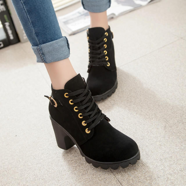 Autumn british style boots high-heeled shoes 2015 new fashion female thick heel short martin high - My Happy Niu Store store
