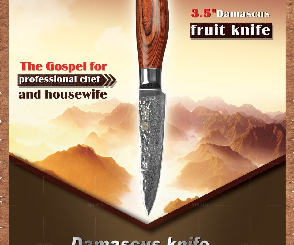 "Buy 2015HOT!!! 73 layers 3.5"" paring knife Japanese Damascus steel kitchen knife fruit knife with Color wood handle free shipping cheap"