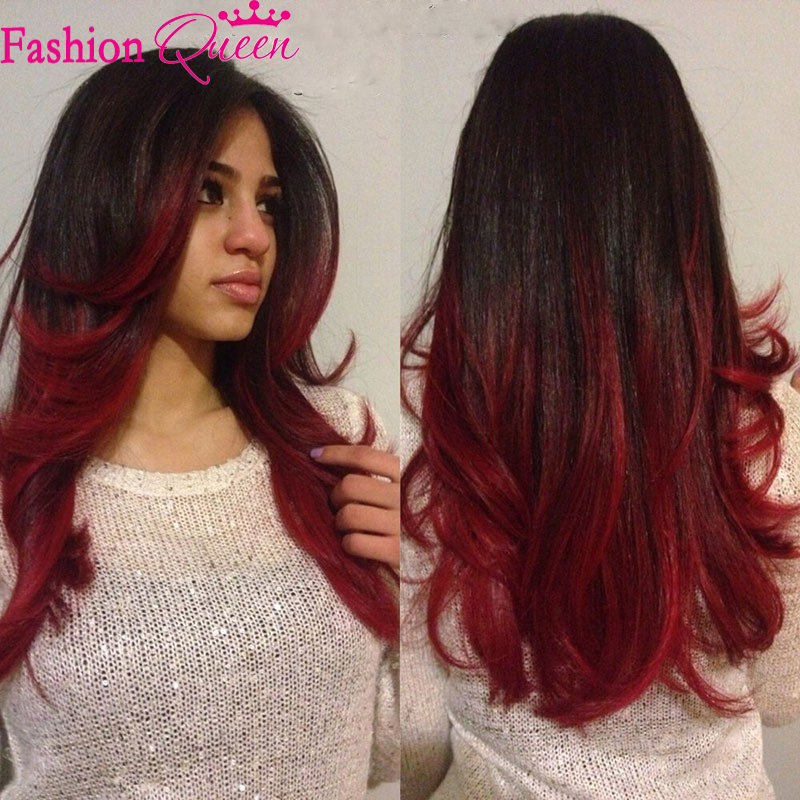 Human Hair Pink And Black Ombre Wig For African American