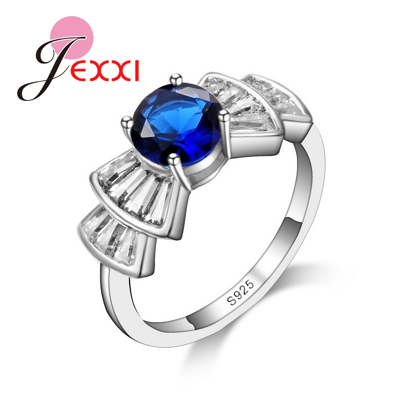 JEXXI Charming Blue CZ Diamond New Hot Finger Rings Women 925 Sterling Silver Fashion Cute Bowknot Crystal Jewelry Wholesale(China (Mainland))