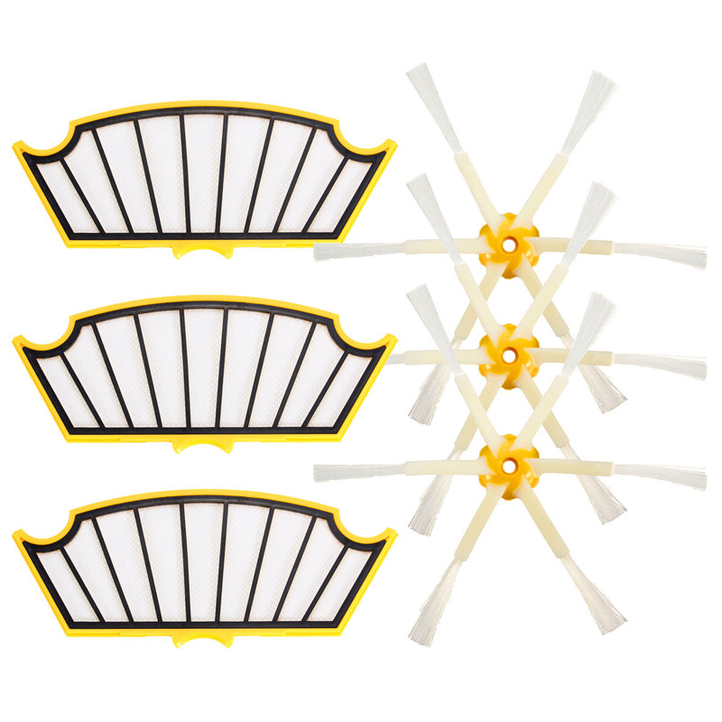 3 Filters+3 Side Brush 6 Armed for iRobot Roomba 500 Series 530 550 560 570 Part(China (Mainland))