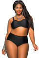 Red Black Blue Plus Size High Waist Bikini Swimsuit 2XL 5XL Halter Padded Push Up Swimwear